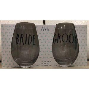 Rae Dunn Bride/Groom set of stemless wine glasses